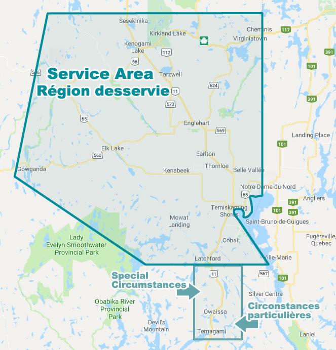 Les services de Soutien à domicile de Timiskaming sont offerts dans une zone s'étendant de Sesekinika au nord jusqu'à Temagami au sud et de Gowganda à l'ouest jusqu'à la frontière de la province du Québec à l'est.