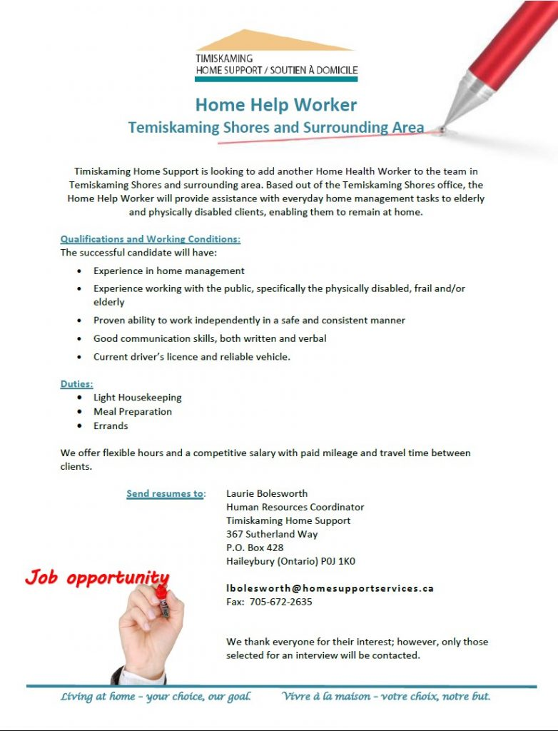 Home Help South job posting
