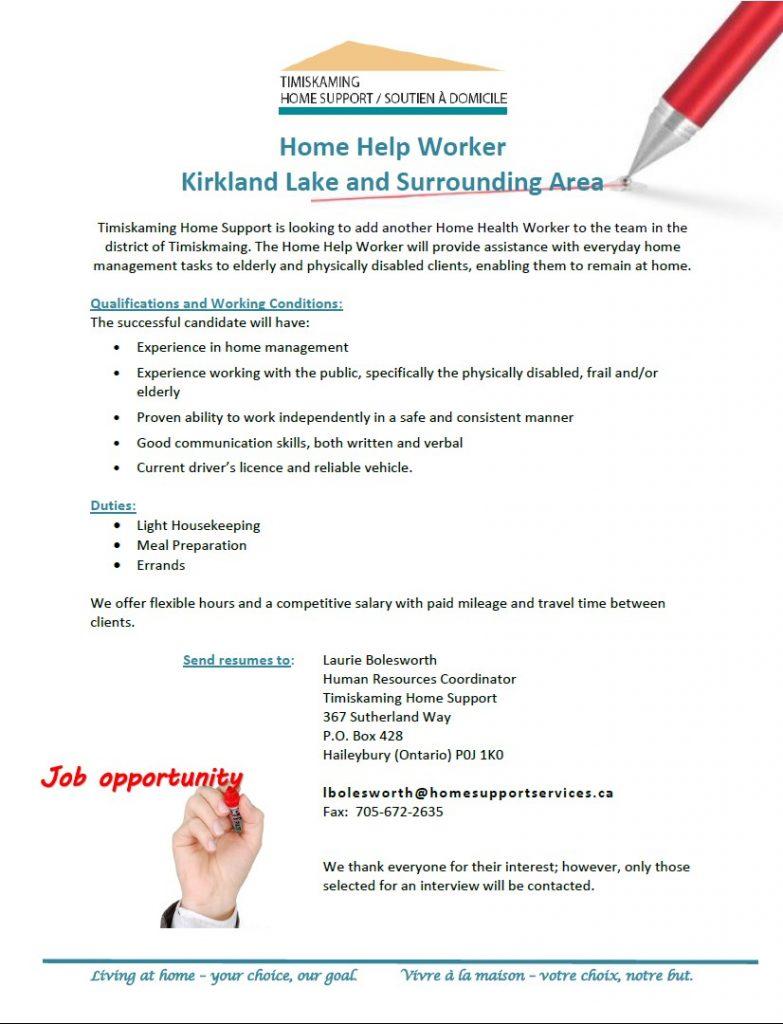 Job Posting for Home Help Worker Kirkland Lake