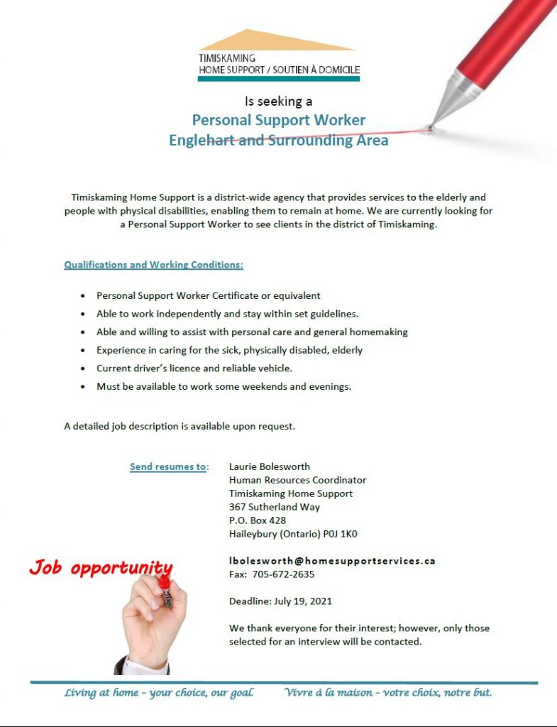 Postion for Hire PSW Englehart and Area