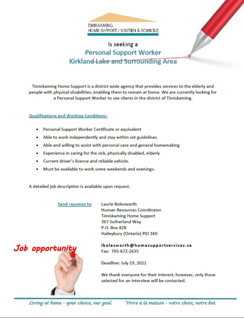 Position for Hire PSW Kirkland Lake