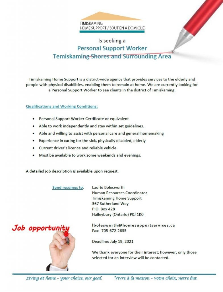 Position for PSW Temiskaming  Shores