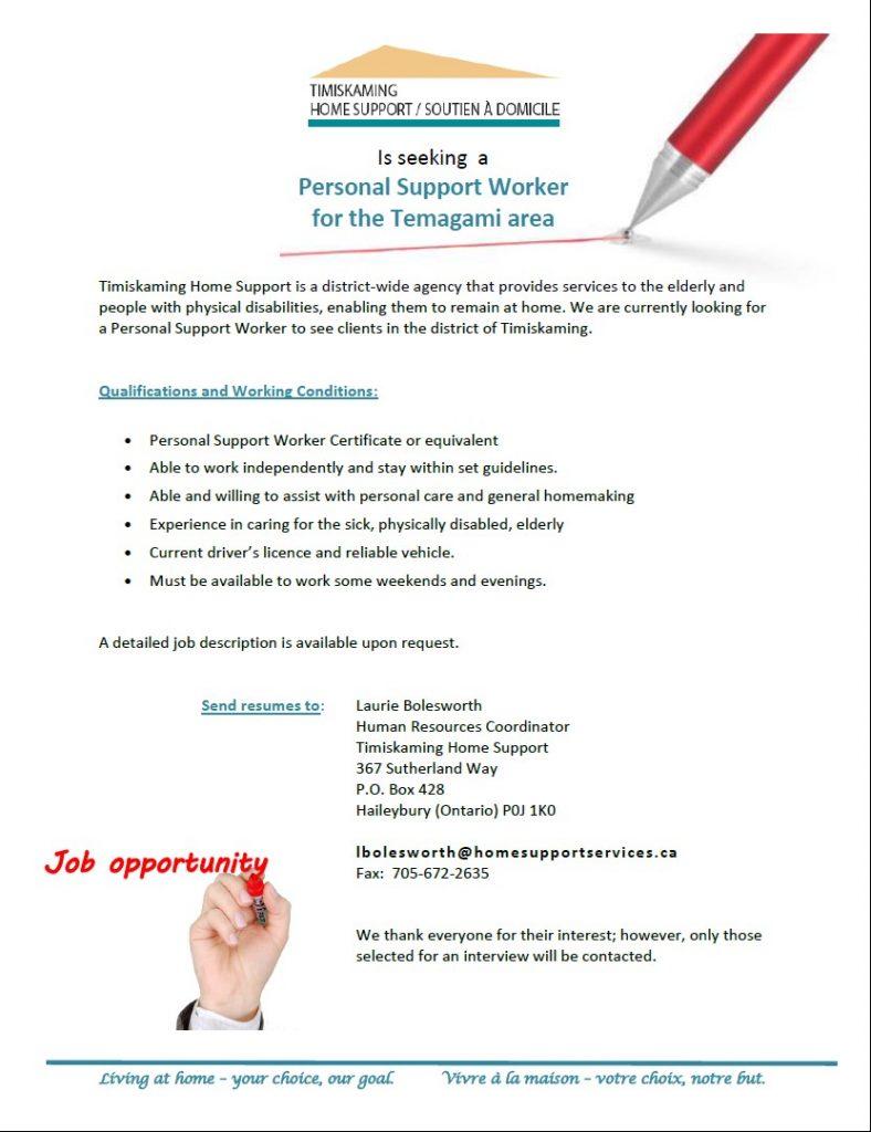 Job Posting PSW Temagami