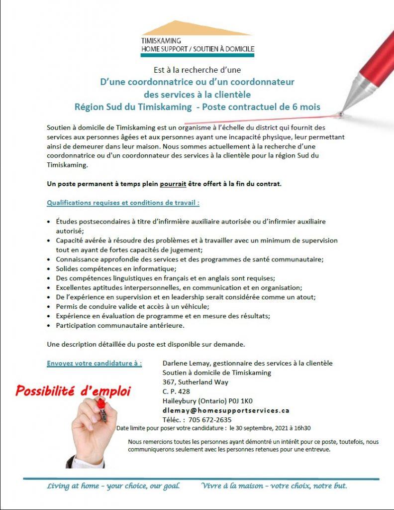 Poste pour coodonnateur des services a lal clientele